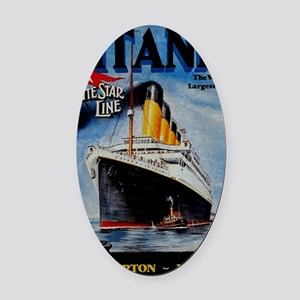 Vintage Titanic Travel Oval Car Magnet