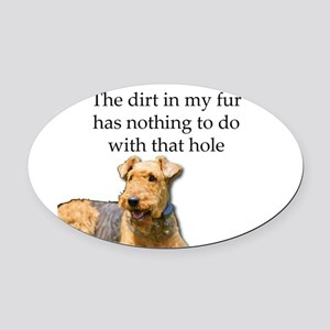 Airedale Sees no connection betwee Oval Car Magnet