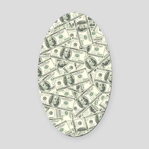 100 Dollar Bill Money Pattern Oval Car Magnet