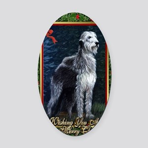 Irish Wolfhound Dog Christmas Oval Car Magnet