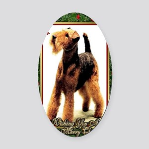 Airedale Terrier Dog Christmas Oval Car Magnet