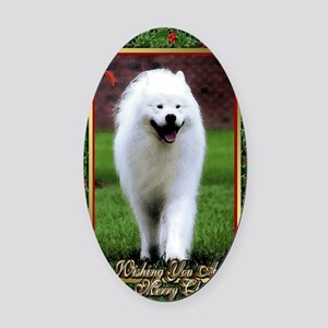 Samoyed Dog Christmas Oval Car Magnet