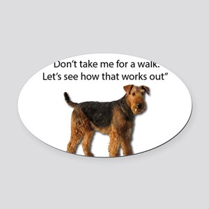 Airedale Terrier Getting Ready for Oval Car Magnet