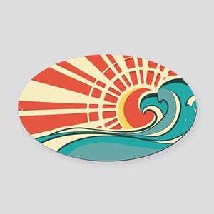 wave at dawn Oval Car Magnet