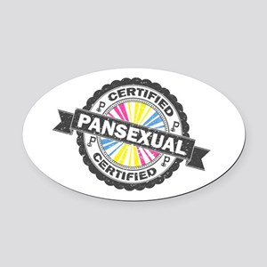 Certified Pansexual Stamp Oval Car Magnet