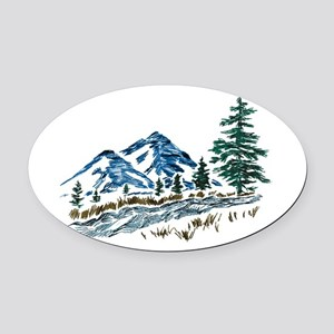 Sketch Mountain Scene Oval Car Magnet