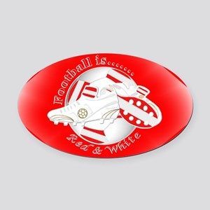 Red and White Football Soccer Oval Car Magnet