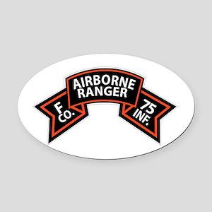 F Co 75th Infantry (Ranger) Scroll Oval Car Magnet