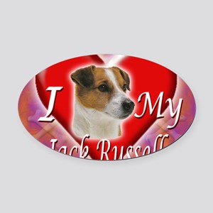 2-I Love My Jack Russell Oval Car Magnet