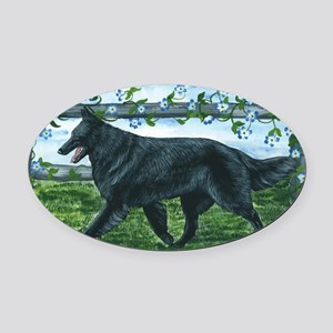 bel shep fence Oval Car Magnet