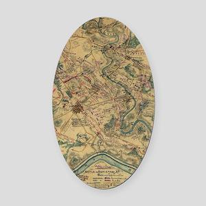 Vintage Antietam Battlefield Map ( Oval Car Magnet