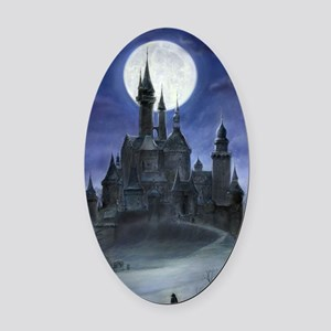 gothic castle reworked Oval Car Magnet