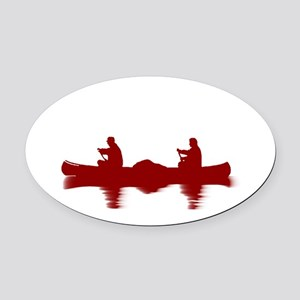 RED CANOE Oval Car Magnet