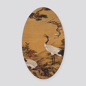 cranes-woodblock-print-iPad-case Oval Car Magnet
