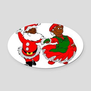 black santa mrs claus Oval Car Magnet