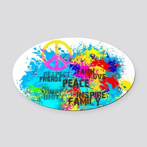 Splash Words of Good Peace Oval Car Magnet