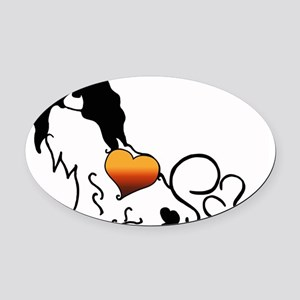 Silhouette Japanese Chin Oval Car Magnet
