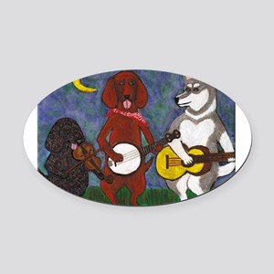 Country Dogs Oval Car Magnet