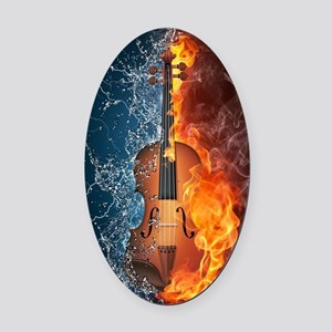Fire and Water Violin Oval Car Magnet