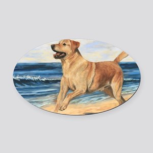 Lab on Beach Oval Car Magnet