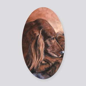 Irish Setter Sleeping Oval Car Magnet