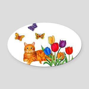 Orange Cat In Tulips Oval Car Magnet