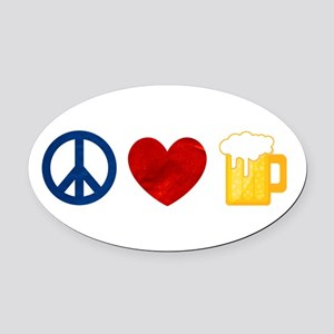 Peace Love Beer Oval Car Magnet