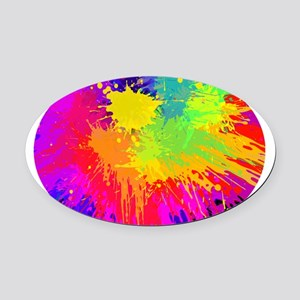 Colourful paint splatter Oval Car Magnet