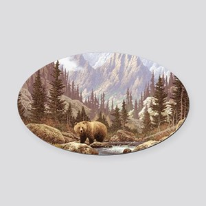 Grizzly Bear Landscape Oval Car Magnet