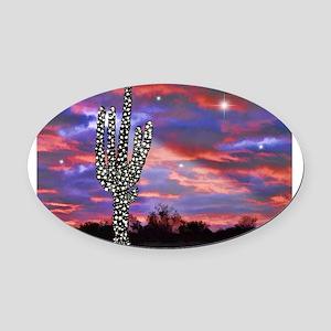Christmas Lights Saguaro Cactus Si Oval Car Magnet
