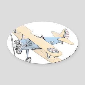 Stearman PT-17 Bi-Plane -Colored Oval Car Magnet