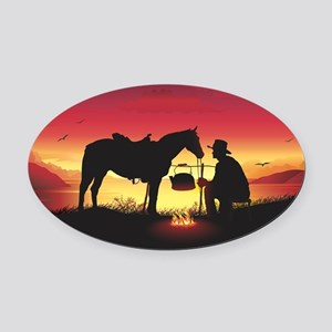 Cowboy and Horse at Sunset Oval Car Magnet