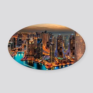 Dubai Skyline Oval Car Magnet