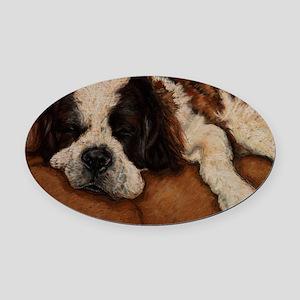 Saint Bernard Sleeping Oval Car Magnet