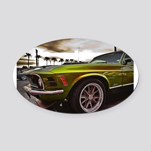 70 Mustang Mach 1 Oval Car Magnet