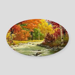 Autumn Landscape Oval Car Magnet