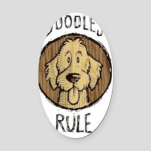 Doodles-Rule-Wood-Scribble Oval Car Magnet