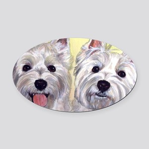 Two Westies Oval Car Magnet