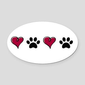 Love Pets Oval Car Magnet