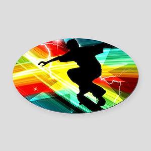 Skateboarder in Criss Cross Lightn Oval Car Magnet