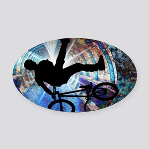 BMX in a Grunge Tunnel Oval Car Magnet