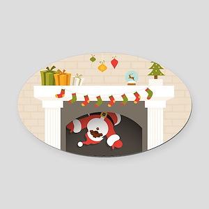 black santa stuck in fireplace Oval Car Magnet