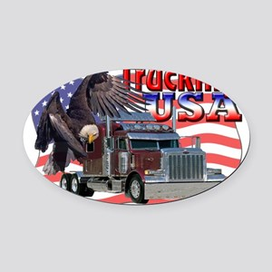 Trucking USA Oval Car Magnet