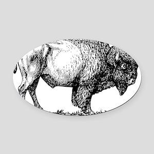 Buffalo/Bison Shirt Oval Car Magnet