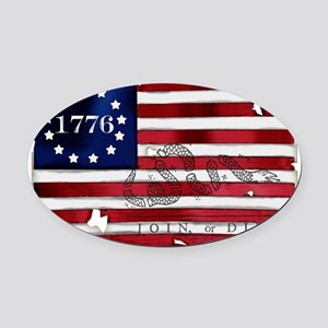 1776_american_flag_old copy Oval Car Magnet