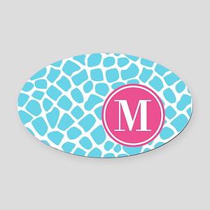 Aqua Pink Animal Print Monogram Oval Car Magnet
