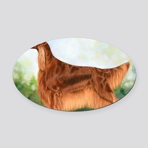 Irish Setter 3 by Dawn Secord Oval Car Magnet