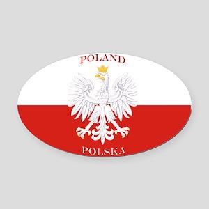 Poland Polska White Eagle Flag Oval Car Magnet