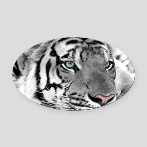 Lazy Tiger Oval Car Magnet