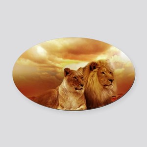 Lion Oval Car Magnet